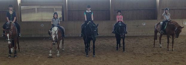 Die fünf jungen Reiterinnen hoch zu Ross